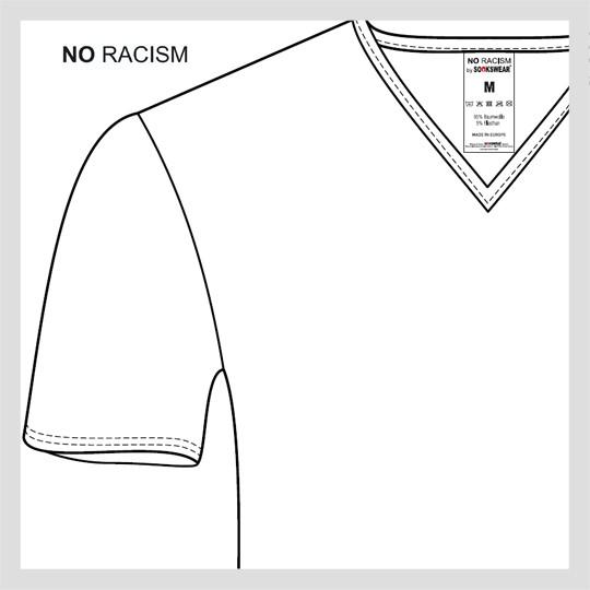NO RACISM T-Shirt mit V-Ausschnitt