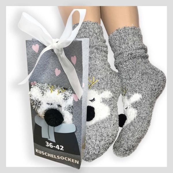 Kuschelsocke mit 3D Motiv in Geschenkverpackung