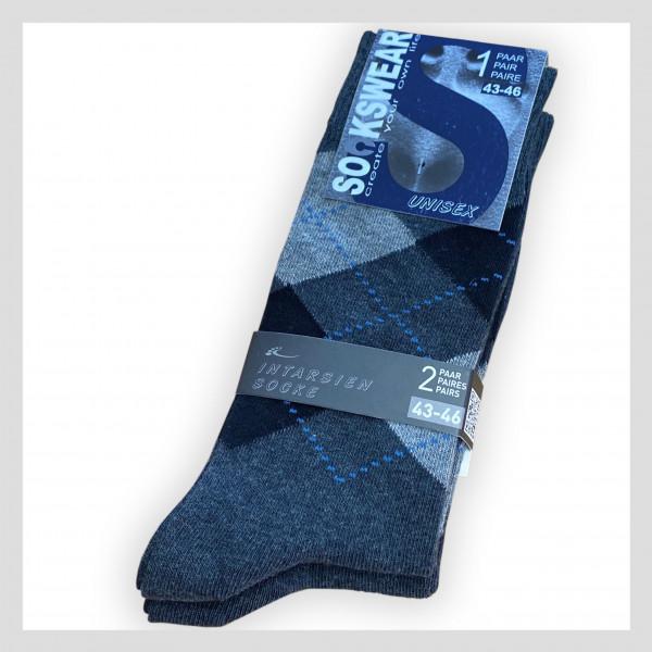 Socke mit Intarsienmuster